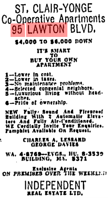 Advertisement for the Regal Towers. Image: Toronto Star, January 27, 1956, 29.