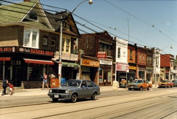 Gerrard East and Marjory, 1986. Image: Toronto Public Library, Local History Reference, Item Snapshots-Riverdale 38.2.