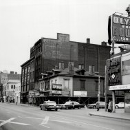 The corner of Yonge and Edward in 1965: five years before the first pedestrian mall and fifteen before Atrium on Bay. Image: Boris Spremo / Toronto Star / Toronto Public Library, Baldwin Collection, Item TSPA 0115305f.