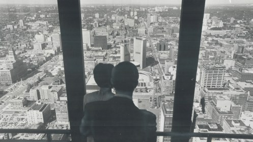 One of most important changes for Toronto; seen here from the top of the Toronto-Dominion Bank; came on Jan. 1; 1967; when Metro was reorganized to become one city and five boroughs. In process the city of Toronto lost power on Metro Council - from its own 12 seats against the suburbs' 12; to same 12 seats against the boroughs' 20. But the new system seems to be working better than most people expected, 1967. Image: Boris Spremo / Toronto Star / Toronto Public Library, Baldwin Collection, Item TSPA 0108878f.
