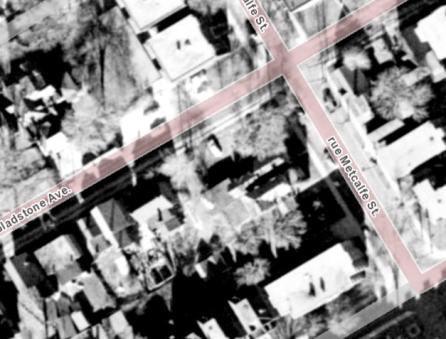Landis assembled the lots. Image: geoOttawa, 1958.