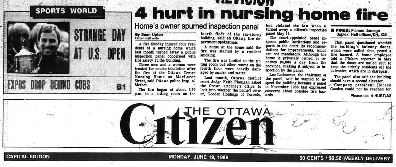 The Citizen reported the story on the front page above the fold. Source: Ottawa Citizen, June 19, 1989, A1.