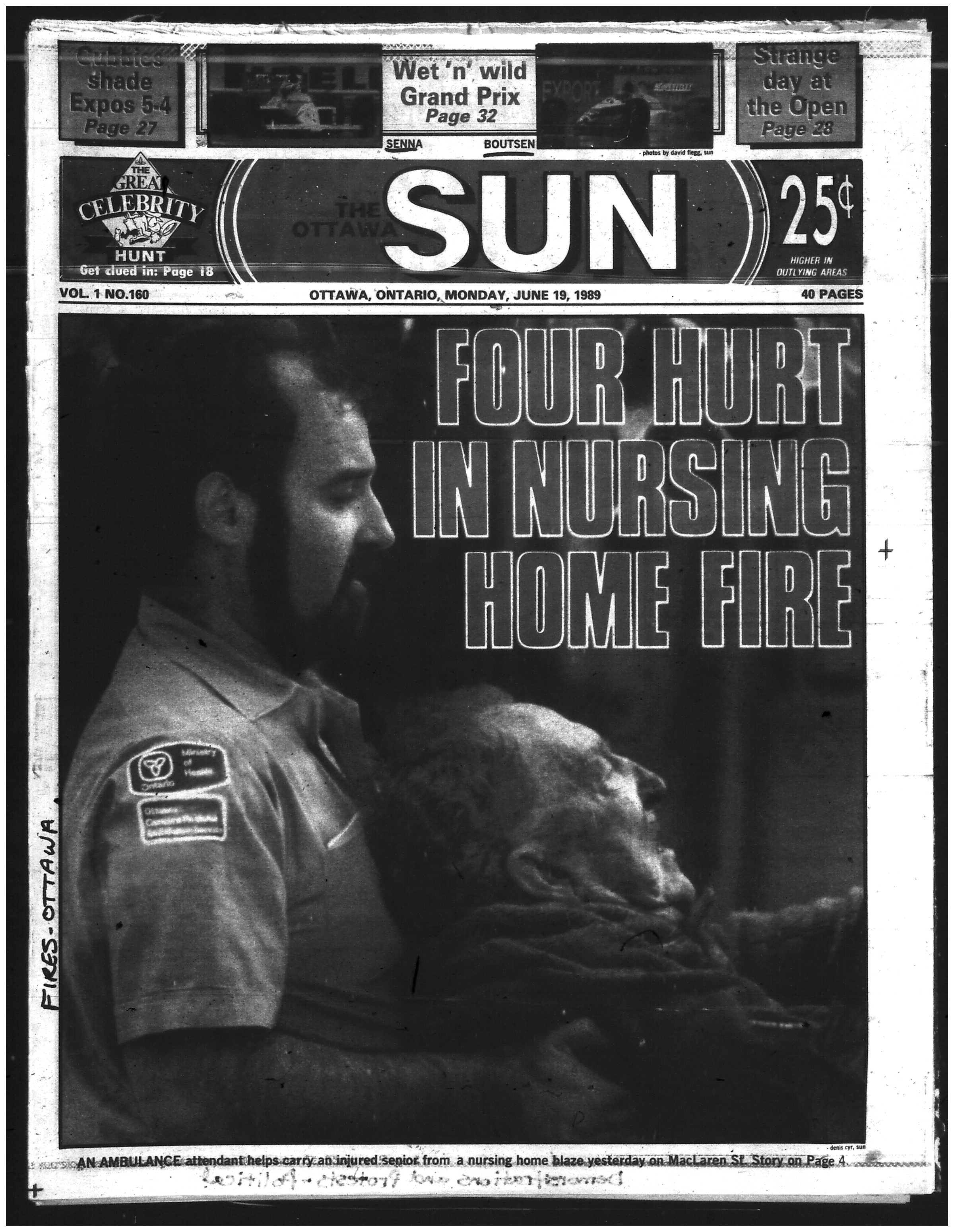 The Sun's more visually-dramatic approach to coverage only drove the point home further. Source: Ottawa Sun, June 19, 1989, 1.