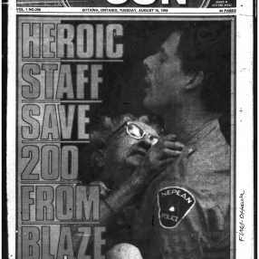 The Sun's visual approach to reporting carried through to the Extendicare facility. Source: Ottawa Sun, August 15, 1989, 1.