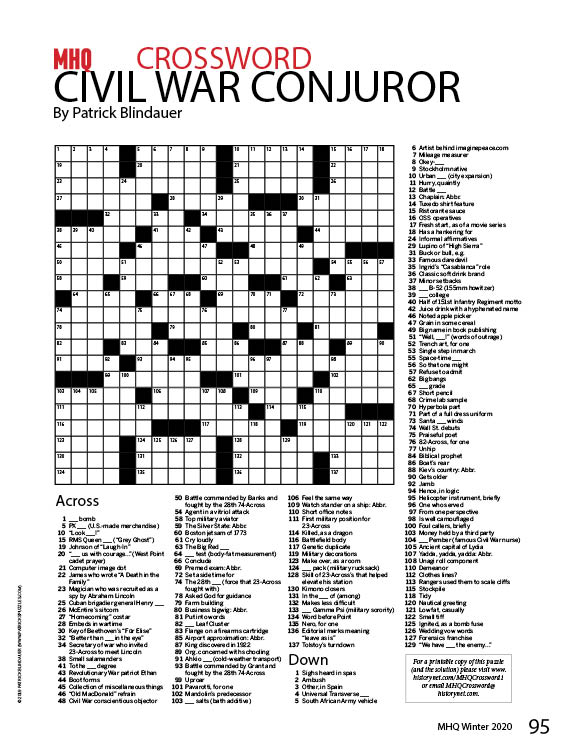 MHQ Crossword Puzzle #1: Civil War Conjuror