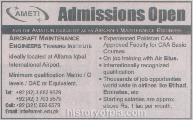 Cabin Crew and Aircraft Engineer Training Offered by AMETI
