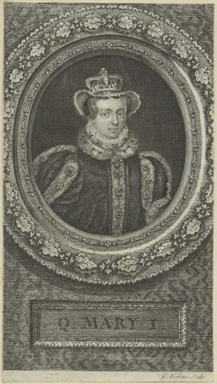 Queen Mary I by George Vertue line engraving, 1745 NPG D24873 © National Portrait Gallery, London