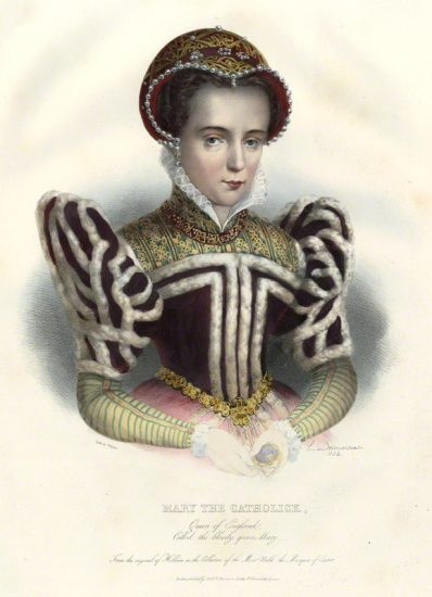 Queen Mary I by Émile Desmaisons, printed by François Le Villain, published by Edward Bull, published by Edward Churton, after Unknown artist hand-coloured lithograph, 1834 NPG D34627 © National Portrait Gallery, London