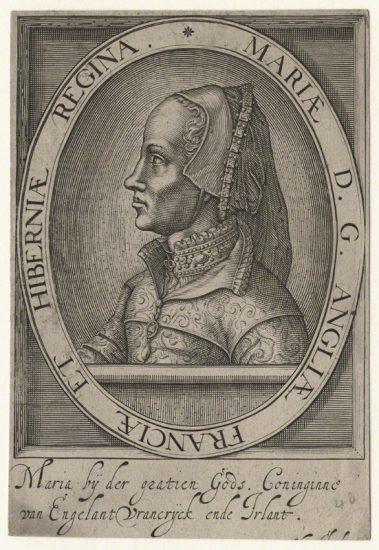 Queen Mary I after Jacopo da Trezzo line engraving, (circa 1555) NPG D17825 © National Portrait Gallery, London