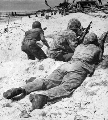 Marines ashore at Tarawa.
