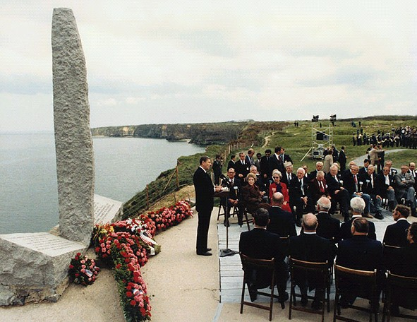 President Reagan speaking on the 40th Anniversary of D-Day at Pointe du Hoc, Normandy, France. 6/6/84.