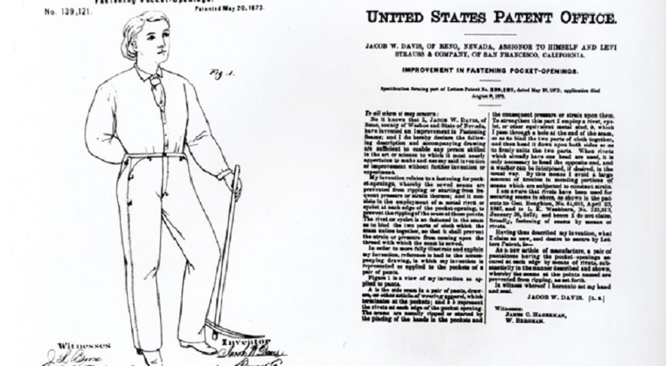 20th May 1873: Levi Strauss & Co. patent riveted blue