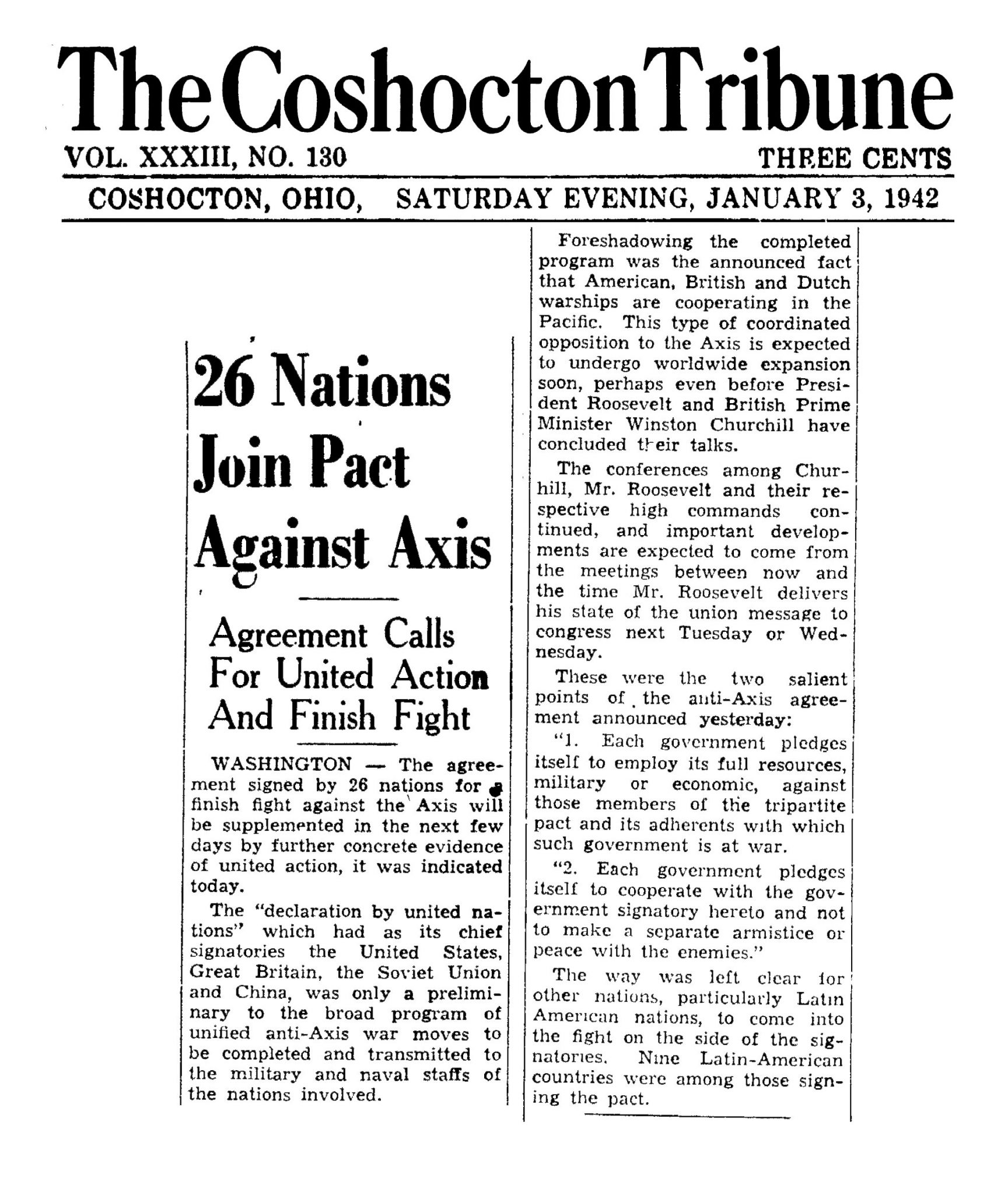 1st January 1942: Declaration by the United Nations agreed