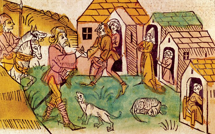 Abraham von Kiduna received by the host of a brothel, German woodcut, 1477.