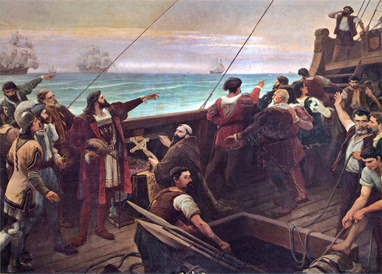Cabral (center-left, pointing) sights the Brazilian mainland for the first time on 22 April 1500. A painting by Aurélio de Figueiredo