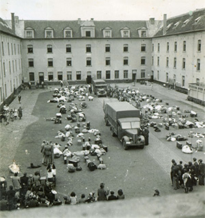 Kazerne Dossin, a former infantry barracks, during its use as a detention centre in 1942.