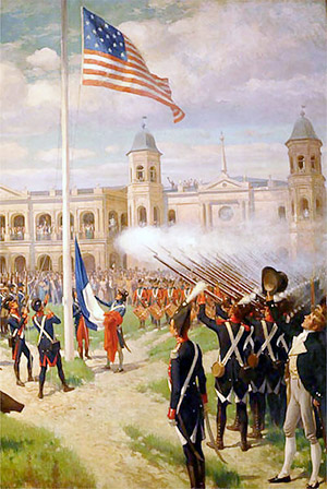 Ceremony at Place d'Armes, New Orleans marking transfer of Louisiana to the United States, 10 March 1804, as depicted by Thure de Thulstrup.