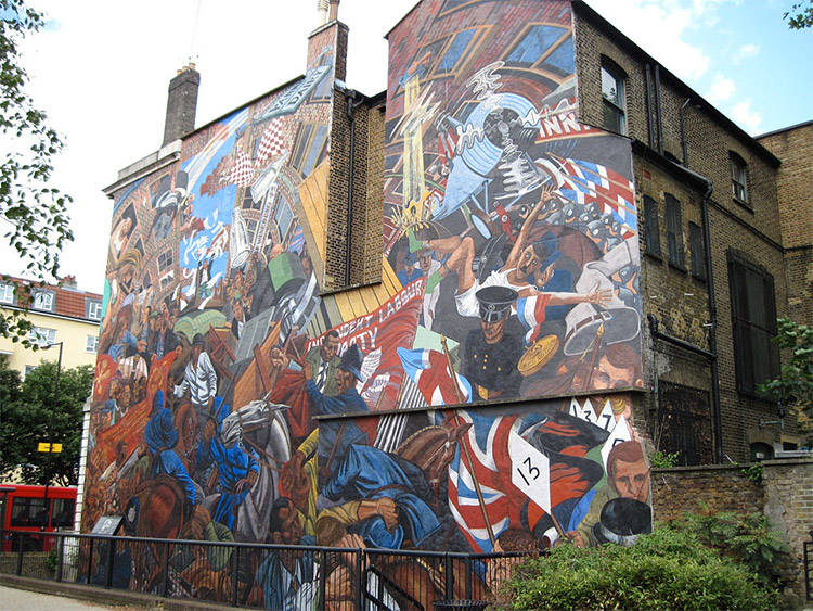 Mural depicting the Battle of Cable Street