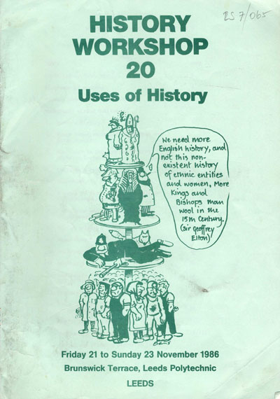 image of the cover of the booklet sent to the participants of history workshop 20
