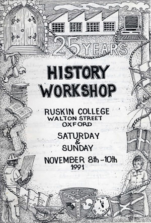 image of publicity for history workshop 25 celebrating the 25th anniversary of the first history workshop