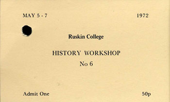 image of a ticket for history workshop 6