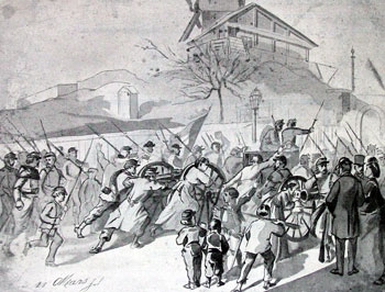 A contemporary sketch of women and children helping take two National Guard cannon to Montmartre