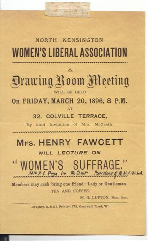 Of this meeting Kate wrote, 'Mrs Fawcett speaks well, but she did not seem to go down well at the Meeting.'