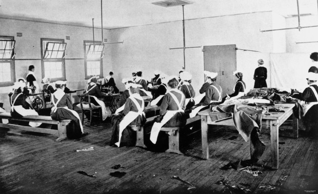 Female prisoners at Brisbane's Boggo Road Gaol working at their sewing, 1913. In the absence of other loved ones, criminal women looked to each other to relieve the tedium of incarceration, strengthening the connections among them. ~ Image negative 33783. Courtesy of the State Library of Queensland.