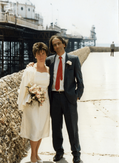 Alison Light and Raphael Samuel on their wedding day - by kind permission of Alison Light