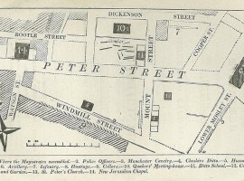 Map of St Peter's Field, 1819