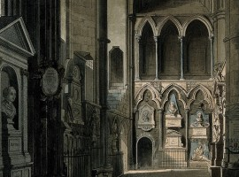Entrance to Poets' Corner Westminster Abbey showing the busts of John Dryden, Ben Johnson, Abraham Cowley and others. Coloured aquatint by J. Bluck after A. Pugin, 1811. Creative Commons Attribution (CC BY 4.0)