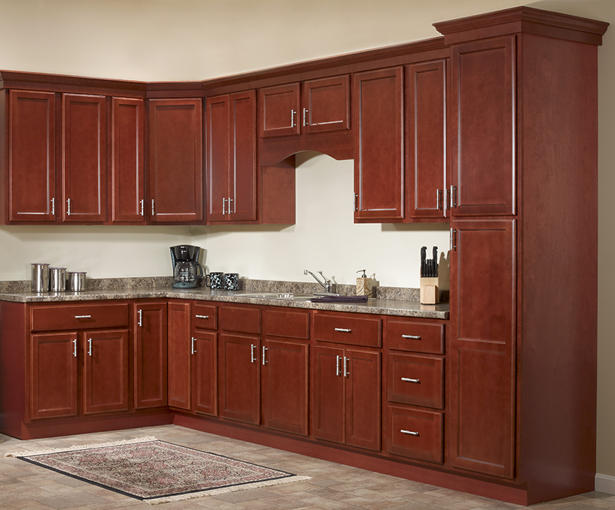 cheap kitchen cabinet sets green towels package deals bristol cherry maple golden brown