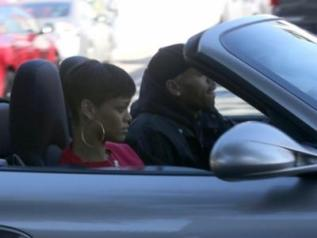 Rihanna Chris Brown la car