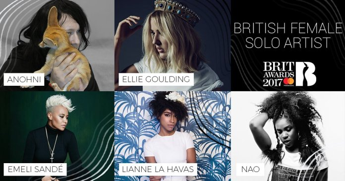 Anohni - Ellie Goulding - Emeli Sande - Lianne La Havas - Nao - BRIT Awards 2017 - Hit Channel