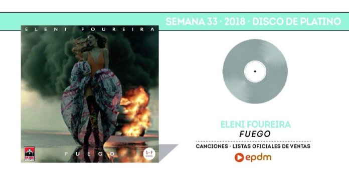 Ελένη Φουρέιρα - Eleni Foureira - Fuego - Disco de Platino - Espana - platinum Spain - Hit Channel