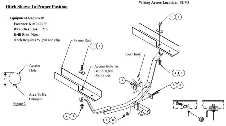 60869 installation instruction hitch image figures 1 & 2