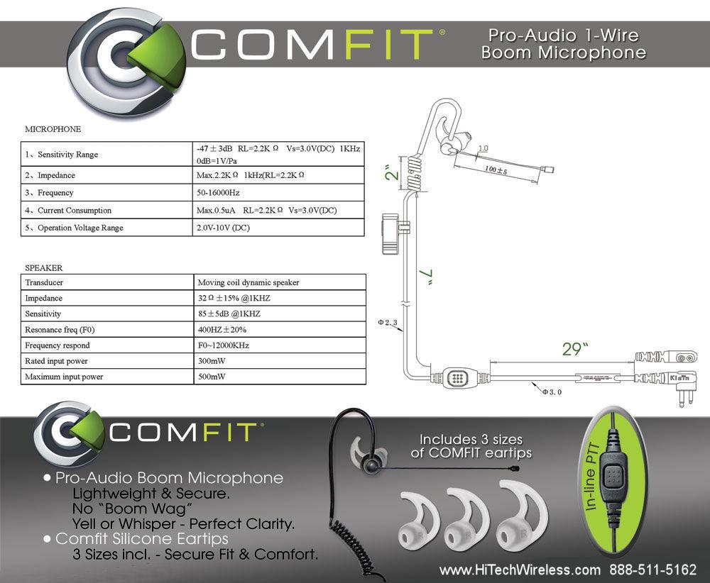 Comfit Pro Audio Single Wire Boom Microphone Motorola M1