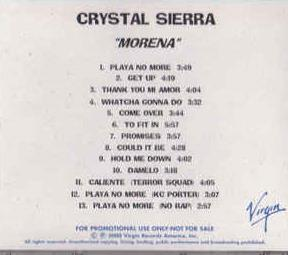 Crystal Sierra: Morena PROMO MUSIC AUDIO CD UNRELEASED