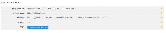 iOS debug error summary