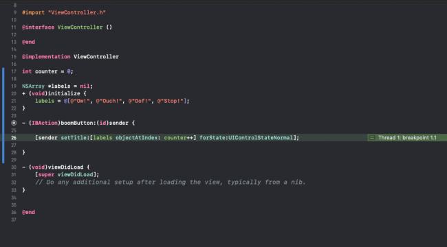 iOS debug broken code