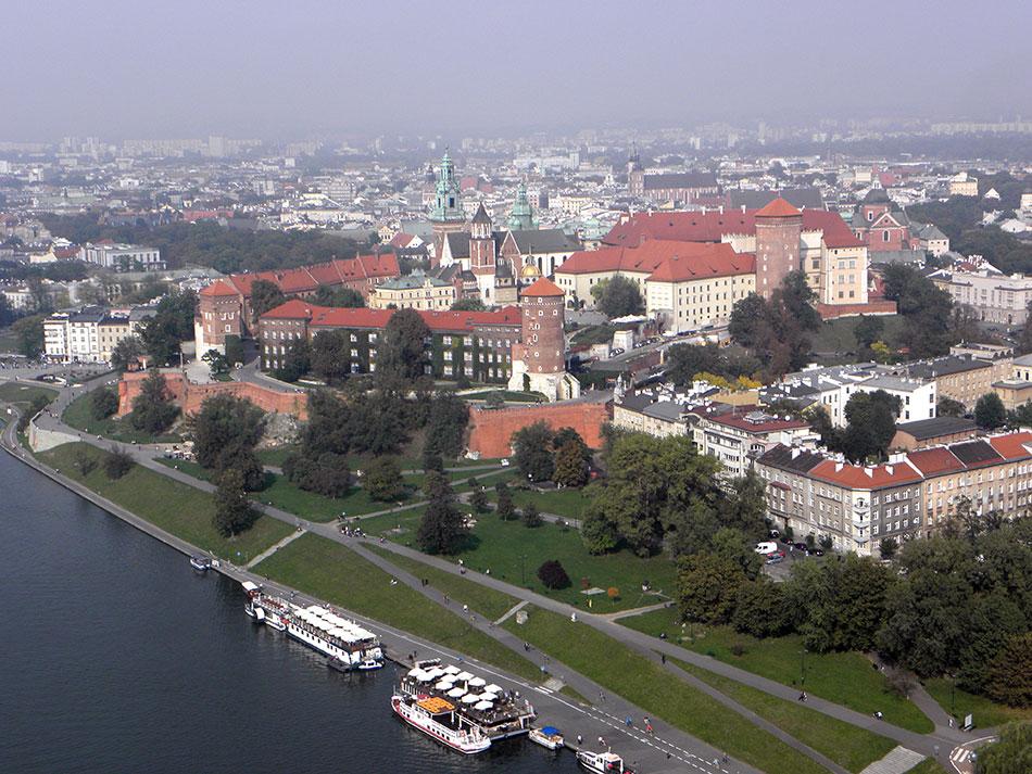 Vue aérienne sur le château de Wawel à Cracovie en Pologne