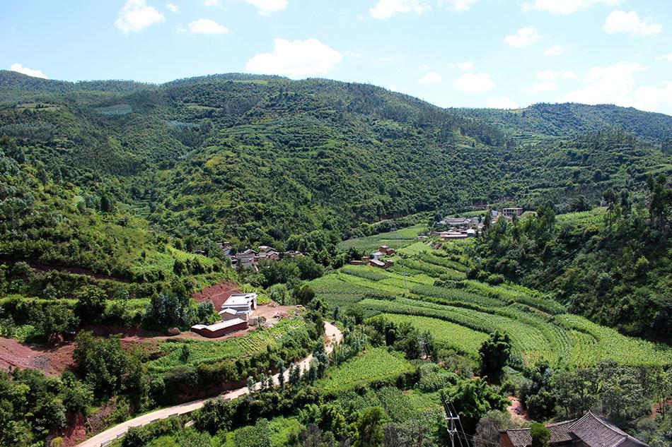 Paysage vu du train dans le Yunnan en Chine