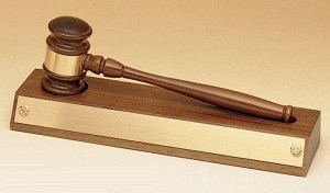 """Walnut gavel with gold gavel band on walnut display base with gold engraving plate, 735 is 3"""" x 11.5"""", Weighs 1.3 lbs."""