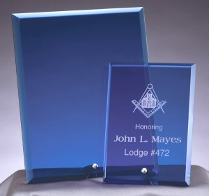 Blue Glass Plaques with silver peg at bottom, laser engraves with a white color