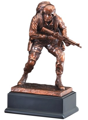 "Bronze marine statue in full gear with gun in hand, mounted on back base, RFB135 is 4"" x 10"" Size, Weighs 3.2 lbs."