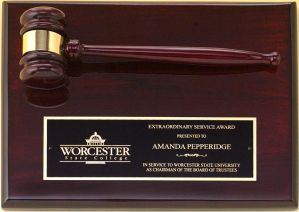 PG4470 Rosewood Gavel Plaque