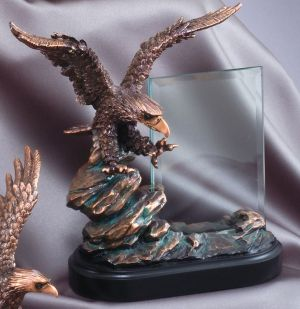 """Bronze eagle statue with glass engraving plate on a black base, RFB806 is 9"""" tall, Weighs 5 lbs."""