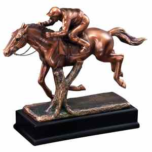 RFB061 Race Horse Statue With Jockey