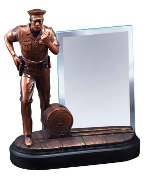 RFB153 Police Statue With Glass Engraving Plate