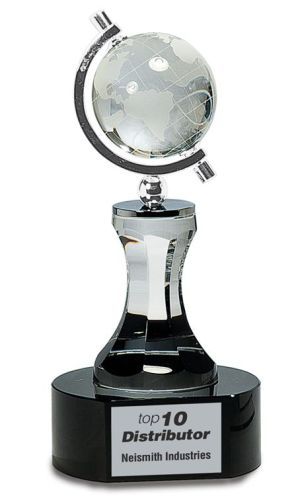 Spinning Crystal Globe Trophy CRY046